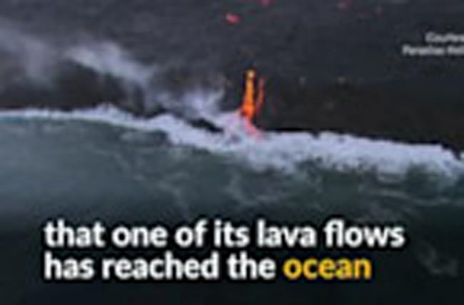 Lava from Hawaii volcano pours into the Pacific Ocean
