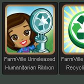 FarmVille Unreleased Recycling Ribbon, Recycling Army, Humanitarian Ribbon, & Swapper Ribbon