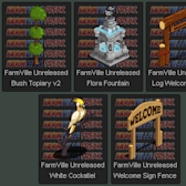 FarmVille Unreleased Flora Fountain, Welcome Signs, Bush Topiary & White Cocketiel
