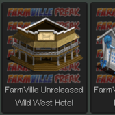 FarmVille Unreleased Wild West Hotel, Poolhouse, Vintage Tractor V2, & Crystal Rock