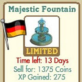 FarmVille German Themed Decorations: Majestic Fountain, Beech Tree, Market Table Set, & Porcelain Vase