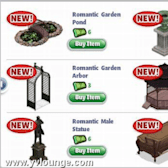 YoVille Romantic Garden Items are now in Furniture Store