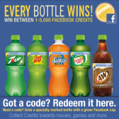 Soda pop promotion offers free Facebook Credits in every bottle