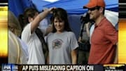 Sarah Palin was in Haiti over the weekend, and an AP photograph taken of her during her trip was captioned