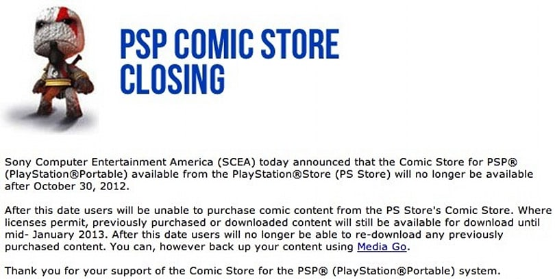 Sony shuts down PSP Comic Store after October 30th, leaves most of us in the lurch for now