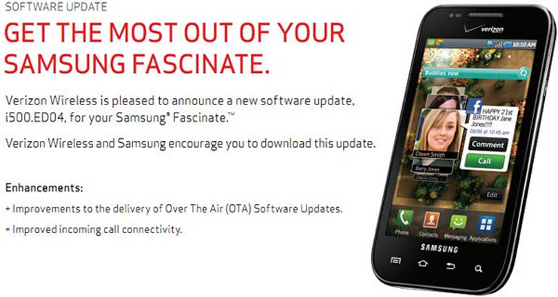 Verizon updates Fascinate to improve calls and... well, updates of course