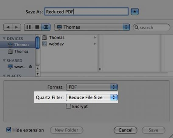 Reducing PDF file size with a Quartz filter