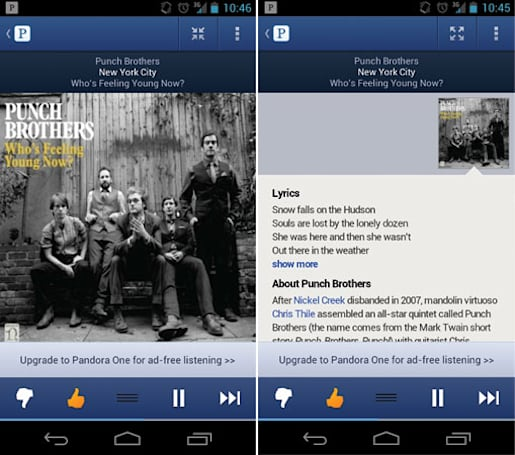 Pandora Android app update: new UI, song history and song lyrics for impromptu cubicle concerts
