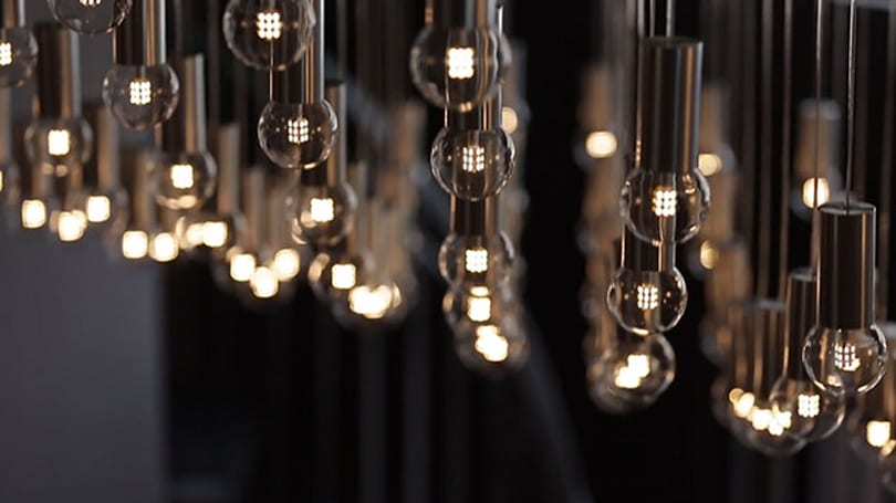 Interactive chandelier turns data streams into a light show