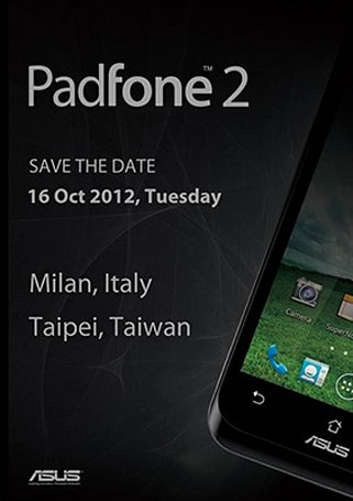 ASUS Padfone 2 launch event slated for October 16th in both Milan and Tapei