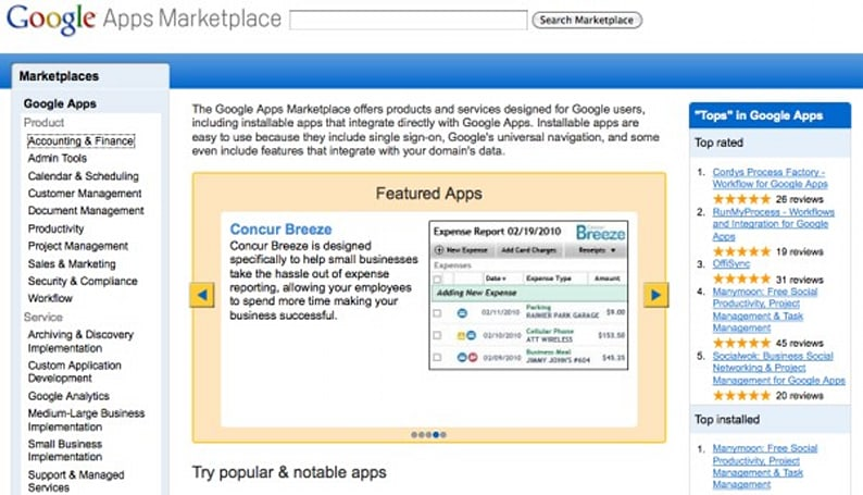 Google Apps Marketplace opens for business, for business