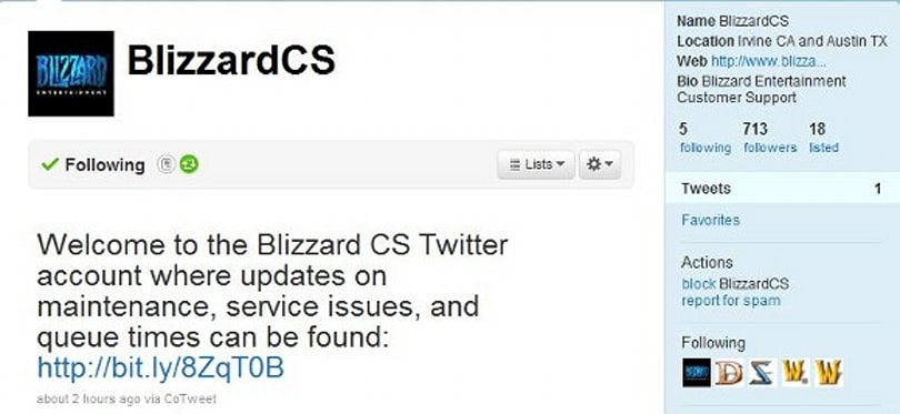 Blizzard customer service now has its own Twitter account