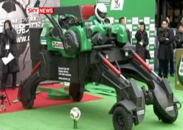 Castrol builds freakishly large robot to kick a soccer ball, break legs of silhouette defenders