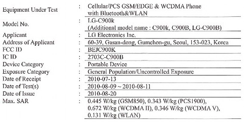 LG's C900 Windows Phone 7 handset for AT&T gets FCC approval