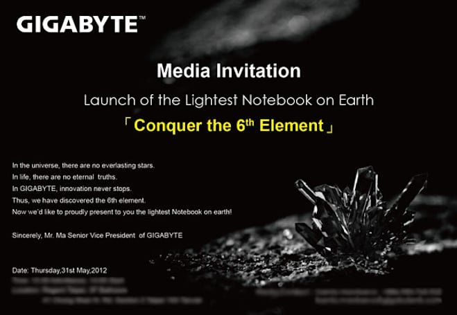 Gigabyte to unveil X11 on May 31st as lightest laptop ever, spooks us with talk of 'sixth element'