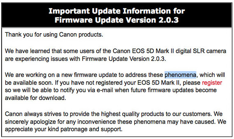 Canon EOS 5D Mark II 2.0.3 firmware yanked due to audio issues, fix is on the way