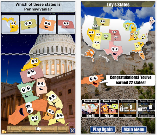 Daily App: Stack the States is a must-have educational game that quizzes you on US Geography