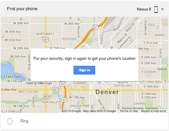 Google search 'Find My Phone' to locate your missing Android