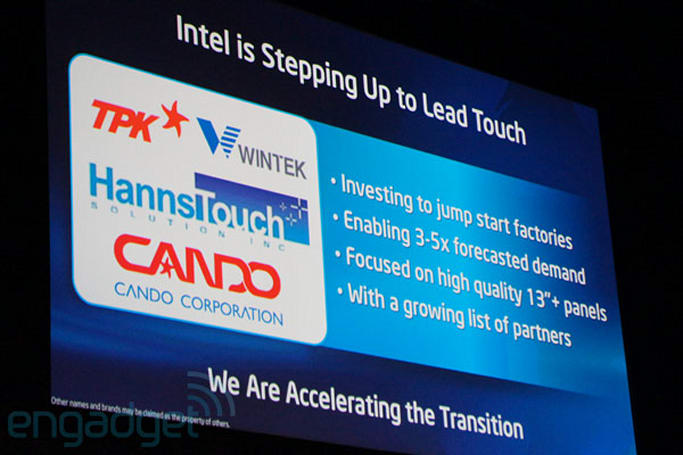 Intel invests in display manufacturers, predicts 'majority' of Ultrabooks will have touch in 2013 (update)