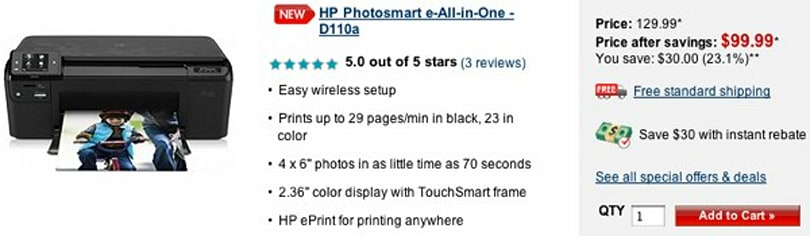 HP Photosmart D110a ePrint printer earns 5-star reviews despite lacking ePrint... wait, what?