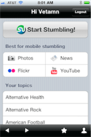StumbleUpon releases official mobile app