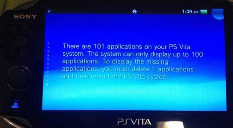 The PlayStation Vita only holds 100 content bubbles, regardless of available memory
