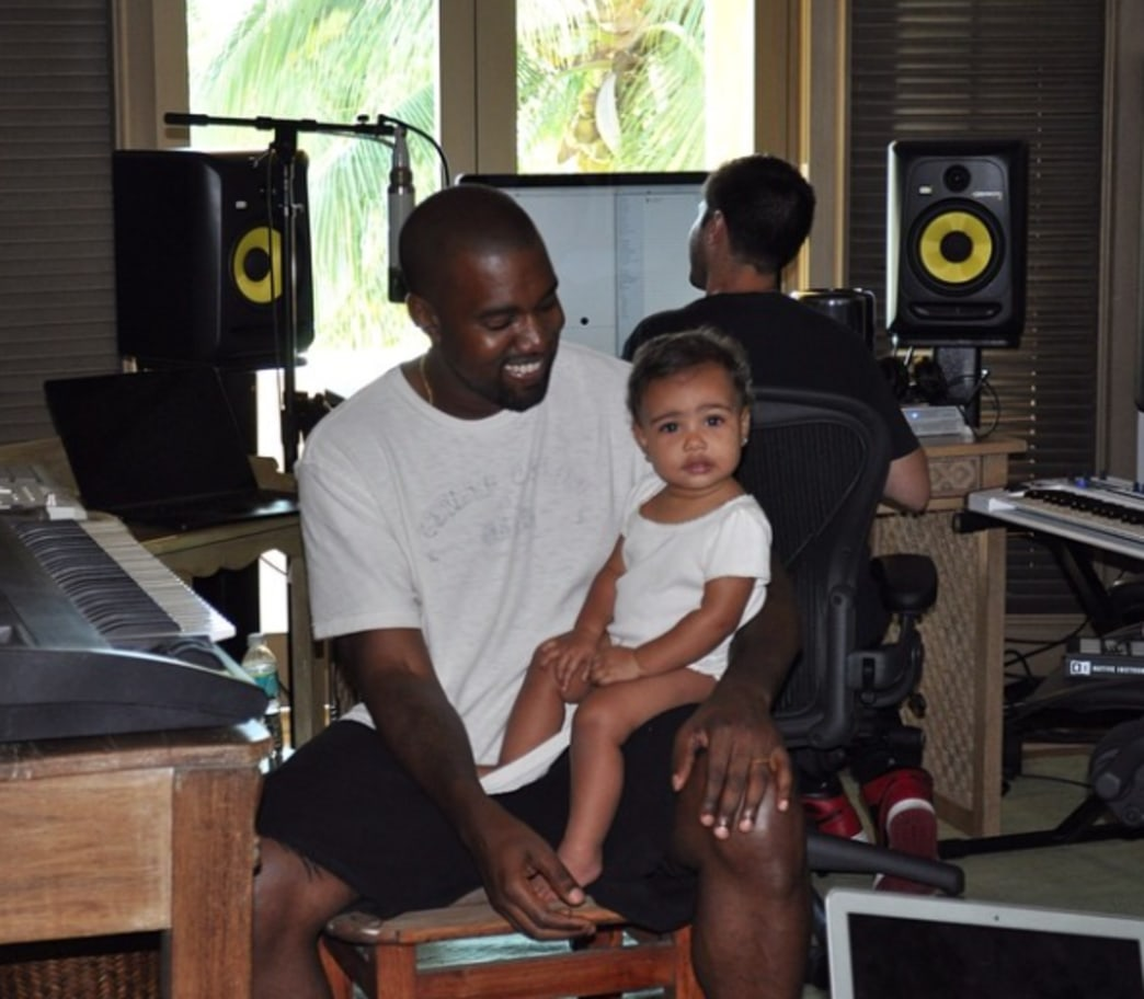 North West proves she's a daddy's girl by joining Kanye in studio
