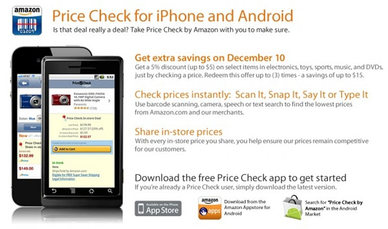Amazon will give you $5 if you use its Price Check app this weekend