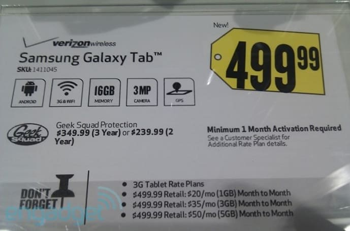 Verizon charging for one month's data with Samsung Galaxy Tab, too?
