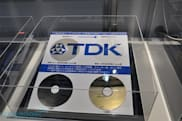 TDK's heavily stacked 320GB disc shows its nearly-clear face at CEATEC