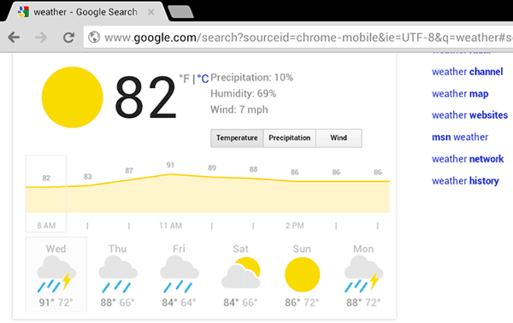 Google adds browser-based weather feature to tablets with temperature, wind and precipitation