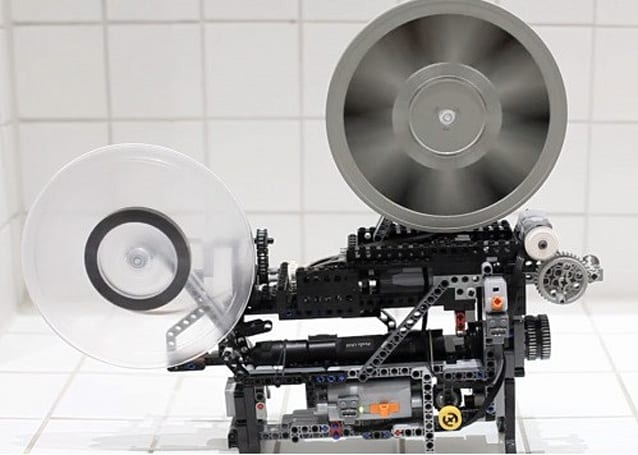 Fully working Super8 film projector built totally out of Lego, well almost (video)