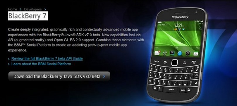 BlackBerry 7 gets an SDK, NFC, AR, other acronyms