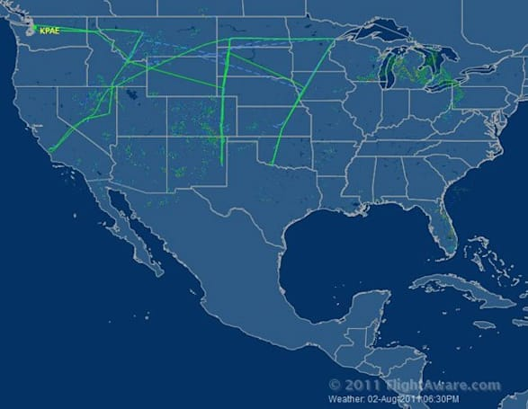 Visualized: Boeing 747-8 makes its longest flight to date, writes name in the sky