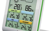 Oregon Scientific's RMR500 weather display includes integrated solar panels