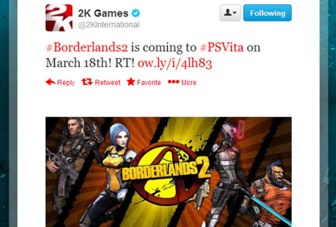 Rumor: Vita to shoot and loot Borderlands 2 in March [Update: 2K says Nope]