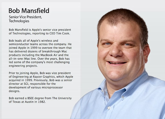 Senior VP Bob Mansfield removed from Apple's leadership page (updated)