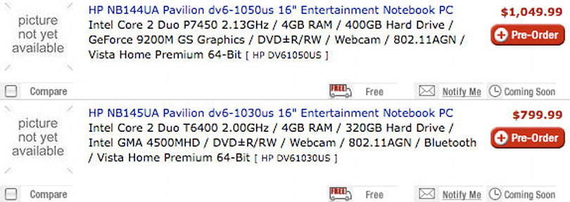 HP Pavilion dv6 laptops show up online for pre-order