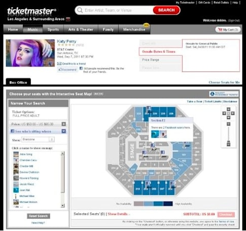Ticketmaster's interactive seat map brings Facebook stalking to concert venues