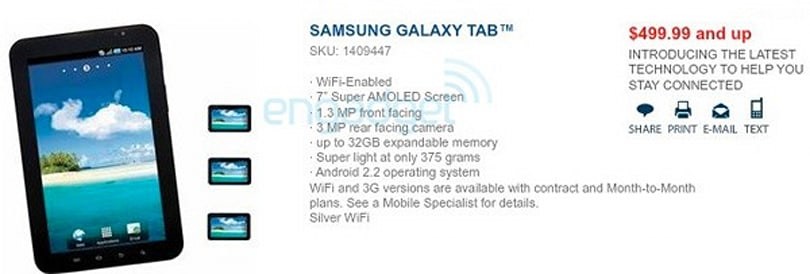 WiFi-only Galaxy Tab hits Best Buy for $499.99 only to be delayed by Samsung?