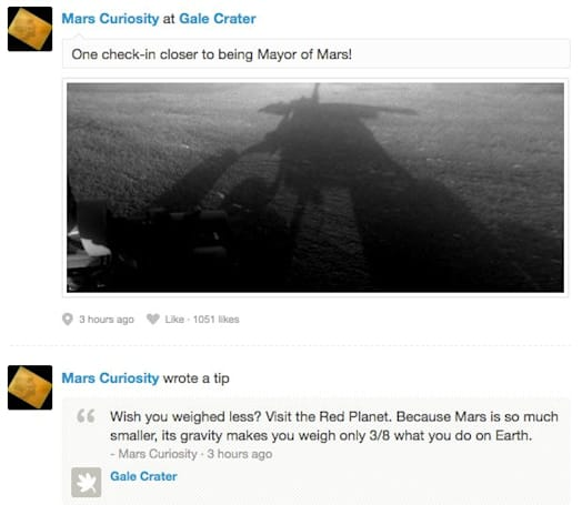 NASA's Curiosity rover checks in on Foursquare, gives Mars its first mayor