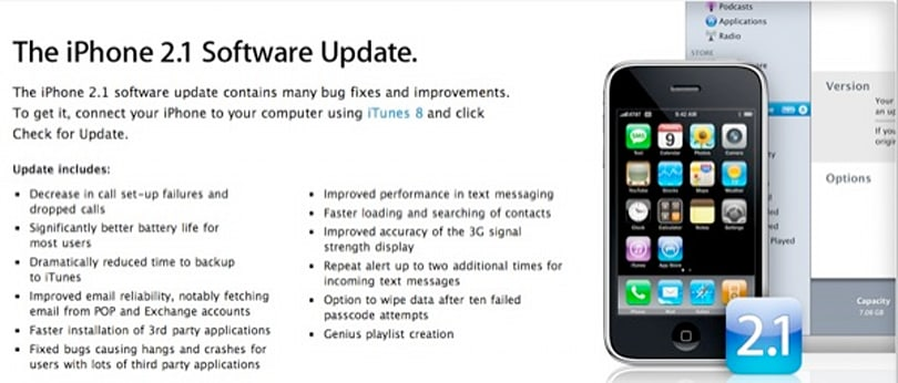 iPhone 2.1 update is out: bug fixes and longer battery life promised
