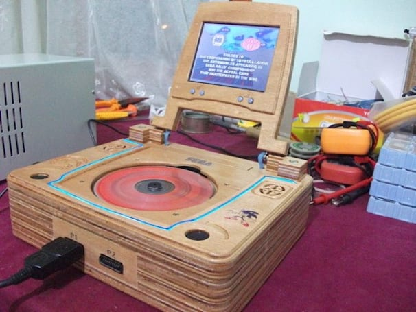 Wooden Sega Saturn laptop sits nicely on your antique dresser