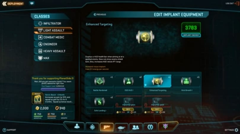 PlanetSide 2 implant changes aren't a 'money grab,' Smedley says