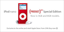 iPod nano (PRODUCT) RED Special Edition now available in 8GB version