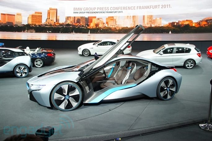 BMW i3 electric and i8 plug-in cars on display at Frankfurt