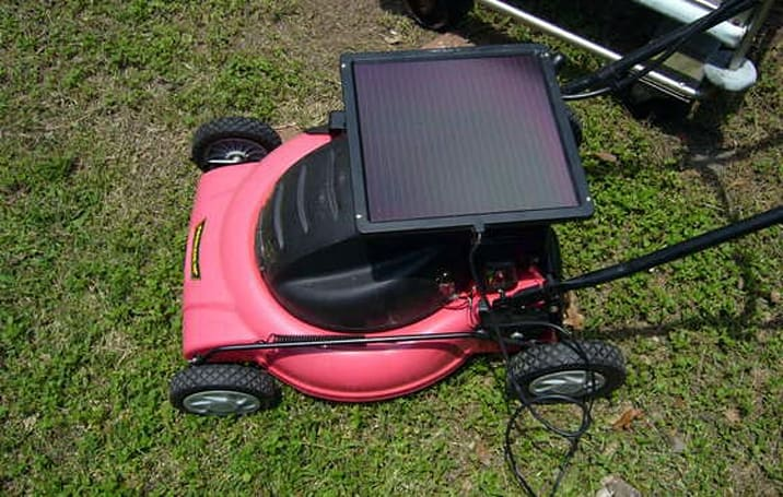 Gas-powered lawn mower gone solar via 3-step mod