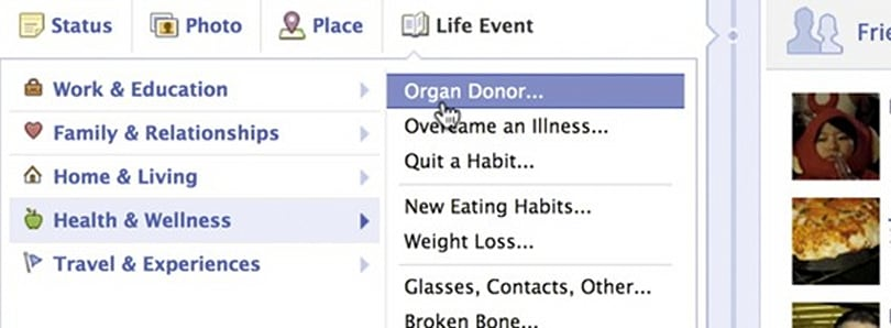 Facebook adds organ donation to Timeline Life Events