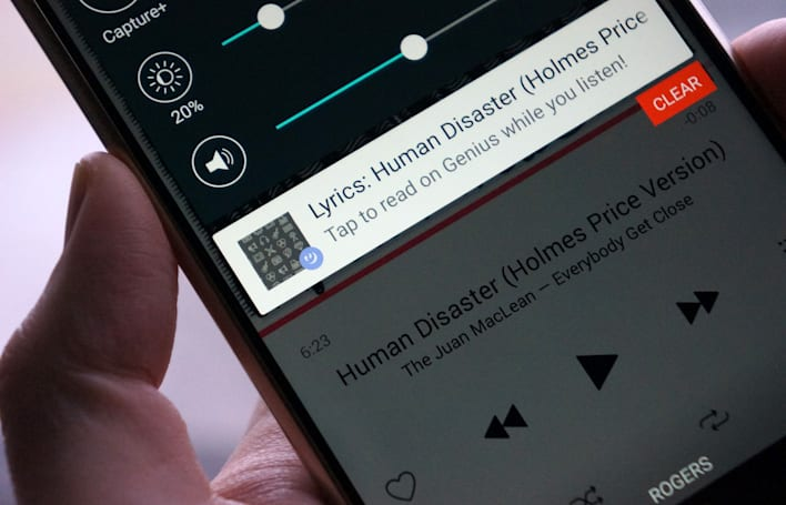 Genius for Android shows lyrics for whatever you're playing