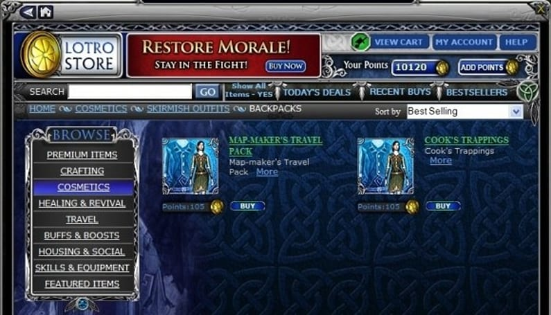 Beta journals testify about the LotRO store
